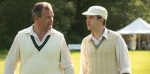 Lord Grantham (left) tells Matthew Crawley that the wicket is about to get sticky.